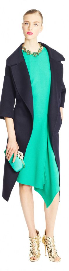 ~Oscar de la Renta Pre-Fall 2015 Blue, Green, Gold