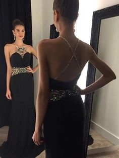 black Prom Dress,a-line spaghetti straps prom Dress , open back evening gowns with beaded