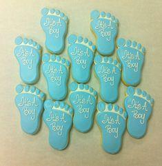 Baby Boy Footprints Cookies!
