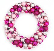 """24"""" Shades of Pink and Silver Shatterproof Christmas Ball Ornament Wreath"""