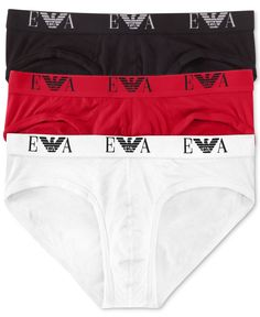 baedf190b1 Emporio Armani Men's Underwear, Genuine Cotton Brief 3-Pack & Reviews -  Underwear & Socks - Men - Macy's