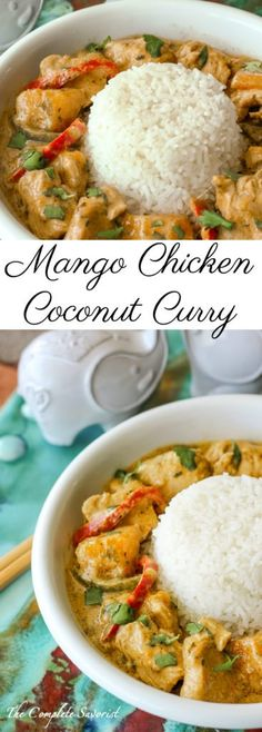 Mango Chicken Coconut Curry ~ A little bit spicy and creamy, and a whole lotta d., Chicken Coconut Curry ~ A little bit spicy and creamy, and a whole lotta delicious this Thai-inspired curry is loaded with chicken and mango. Indian Food Recipes, Asian Recipes, New Recipes, Dinner Recipes, Cooking Recipes, Favorite Recipes, Healthy Recipes, Recipies, Healthy Food