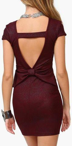 Burgundy Bow Back Dress <3
