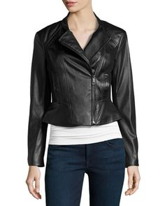 Faux-Leather/Ponte Jacket, Black by Vakko at Neiman Marcus Last Call.