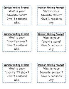 OPINION WRITING PROMPT CARDS - TeachersPayTeachers.com