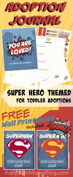 Adoption Journal for Toddlers with a SUPERHERO theme!
