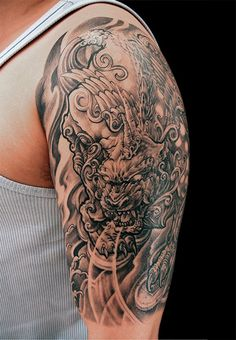 Pixiu tattoo half sleeve - Chronic Ink Tattoos