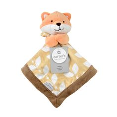 Carter's adorable fox cuddle blanket is a plush toy and security blanket all in one. It's perfect for baby's little hands and sure to become baby's best friend. The plush fabric has a neutral leaf print and is super soft, made for cuddling.