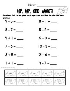 math worksheet : addition  subtraction practice pages with cut apart counters  : Addition And Subtraction To 20 Worksheets
