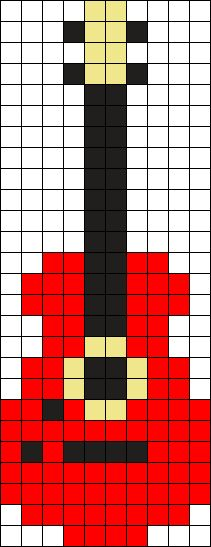 Red Guitar Perler Bead Pattern / Bead Sprite