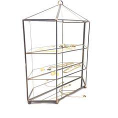 Vintage glass brass open display case Cabinet Pan by SprinkelHop