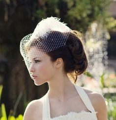Weddings, Ivory Birdcage Veil, Bridal Hat, Feather Fascinator, Made by Batcakes Couture on Etsy Bridal Fascinator, Bridal Hat, Bridal Headpieces, Fascinators, Star Wedding, Wedding Hats, Wedding Veil, Wedding Ideas, Wedding Stuff