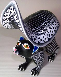Oaxacan Wood Carving Mesmerizing Squirrel Martha Santiago Hand Painted
