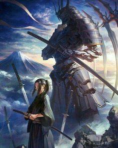 Dragon and female samurai Cool Fantasy art Art Character art Ronin Samurai, Samurai Warrior, Character Inspiration, Character Art, Mononoke, Arte Ninja, Samurai Artwork, Fantasy Warrior, Fantasy Samurai