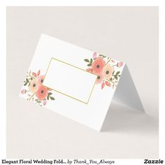 Elegant Floral Wedding Folded Place Cards