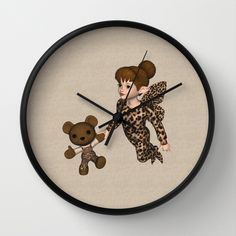 Cute adorable Little Girl Fairy dressed in her leopard fairy song suit Baby Wooly Bear in matching trousers background made of a wooly texture