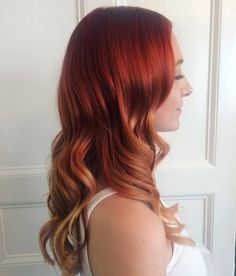 Red to red orange to light orange colormelt hair color inspo for long hair in soft curls #red #hair #auburn