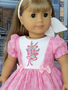 PDF Sewing Pattern with Optional Embroidery Fits American Girl image 1 Sewing Doll Clothes, Girl Doll Clothes, Girl Dolls, Barbie Clothes, Children Clothes, Ag Dolls, Girl Clothing, American Girl Dress, American Doll Clothes
