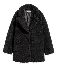 Jacke aus Teddyfleece   Schwarz   Damen   H&M DE