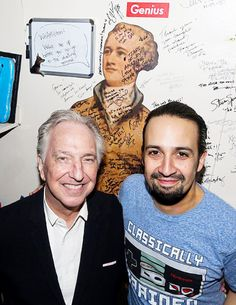 Alan Rickman and Lin-Manuel Miranda pose backstage at the hit musical 'Hamilton' on Broadway at The Richard Rogers Theater on November 19, 2015 in New York City. // Photo by Bruce Glikas