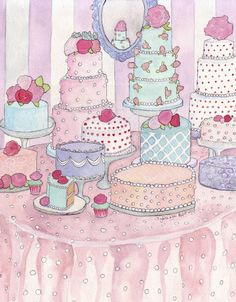 Cakes Dessert Table no. 2 Watercolor Painting Print - Colorful Food Illustration Still Life Watercolor Painting - 11x14 Print