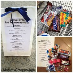 Police Officer Appreciation Week Goodie Bags   Mommy Octopus Police Wife Life, Cop Wife, Blessing Bags, Daisy, Yorky, Police Officer Gifts, Gifts For Office, Appreciation Gifts, Goodie Bags