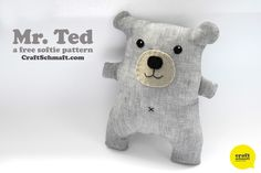 Mr. Ted free Softie Sewing Pattern and Tutorial. #plush #craft #teddy
