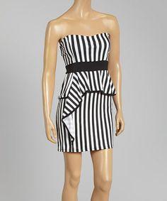 Look what I found on #zulily! Black & White Stripe Strapless Peplum Dress by AMI Clubwear #zulilyfinds