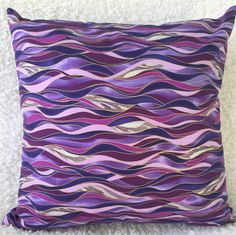 Purple Cushion Cover Blue Dancing Waves Living Room Decor Conservatory Bedroom Housewarming Gift