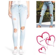 """Destroyed Skinny Jeans 25 Artfully placed abraded holes at the knee lend a well-loved feel to this pastel blue pair of skinnies.  Five pockets, zip fly with button closure.  Inseam is 29"""" it's an approximately 8.5"""" rise. No Trades ✅ Offers Considered*✅ *Please use the blue 'offer' button to submit an offer. Jeans Skinny"""