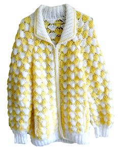 vintage handmade knitted cable knit long sleeve collared yellow and white shell like scalloped zip up sweater jacket... available now on ETSY