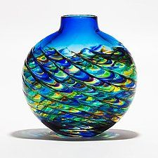 "Optic Rib Flat Peacock with Cerulean by Michael Trimpol and Monique LaJeunesse (Art Glass Vase) (10.5"" x 10.5"")"