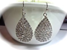 Rhinestone earrings  Large  Sparkling pave by QueenMeJewelryLLC, $24.99