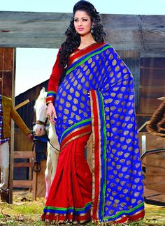 Item :#3690 Shop this product from here.. http://www.silkmuseumsurat.in/red-and-blue-bhagalpuri-silk-saree?filter_name=3690   Color	 : Blue, Red Fabric	 : Art Silk, Jacquard Occasion	 : Party, Reception Style	 : Contemporary Work	 : N/A