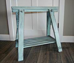 Unique Sawhorse Desk For Your Workspace Table: Green Saw Horse Desk Legs Image For DIY Desk Idea