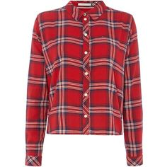 Tommy Hilfiger THDW Basic Flannel Check Shirt (325 RON) ❤ liked on Polyvore featuring tops, red, women, red long sleeve top, long sleeve shirts, red top, america shirts and long-sleeve shirt