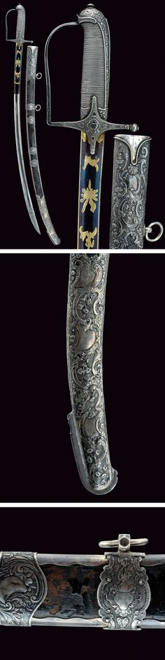 A rare silver mounted luxury sabre.    provenance:	 	Austria dating:	 	early 19th Century.