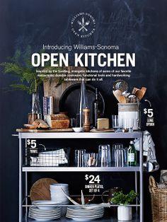 My Style: Williams Sonoma Open Kitchen Ikea Cart, Commercial Kitchen Equipment, Open Kitchen, Kitchen Cart, Kitchen Storage, Kitchen Ideas, Dinner Plate Sets, Modern Interior Design, Modern Interiors