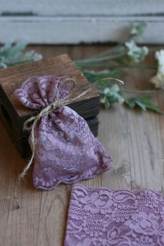 LaCe Wedding favor bags PLuM Lace rustic wedding by kraftedheart