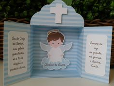 Oratório em papel para lembrancinha de Batizado. Pode ser feito em outras cores. - 4B1EC4