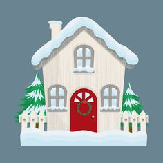 Christmas House With Red Door Stock Vector - Illustration of family, gifts: 160748577 Red Door House, Winter Collection, Advent Calendar, Gazebo, Kawaii, Outdoor Structures, Doors, Illustration, Christmas