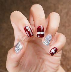 Trendy Holiday Nails Designs New Years Holiday Nail Designs, Fall Nail Art Designs, Holiday Nails, Christmas Nails, Nail Swag, Diamond Nail Art, Ring Finger Nails, Nagel Gel, Perfect Nails