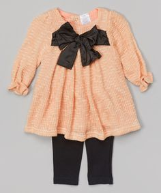 Look what I found on #zulily! Baby Essentials Light Pink & Black Bow Tunic & Leggings by Baby Essentials #zulilyfinds