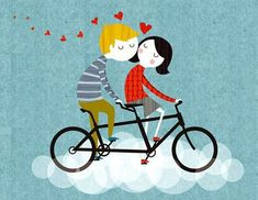 Retro lovers riding on a tandem. Illustrated by me, Rebecca Elliott. Bicycle Illustration, Children's Book Illustration, Valentines Illustration, Tandem, Bicycle Art, Cycling Art, Illustrations And Posters, Retro, Cute Drawings