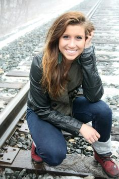senior picture, leather, winter, train tracks, red shoes, girl