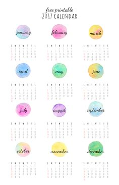 Free Printable 2017 Watercolor Calendar from Beany Meeny Miny Moe