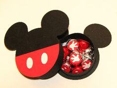 Mickey Treat Box - made with the Mickey and Friends cart; cut tiny gloves from sticker paper to put on the bottom of kisses Mickey Mouse Crafts, Minnie Mouse Birthday Decorations, Mickey Mouse Clubhouse Birthday, Mickey Party, Mickey Mouse Birthday, Minnie Mouse Party, Mimi Y Mickey, Mickey And Friends, Mickey Minnie Mouse