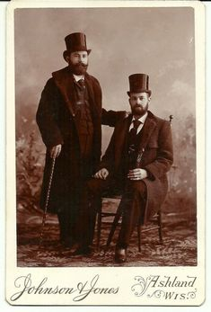 f9e834ab345da Antique Cabinet Card 2 Dapper Bearded Men in Top Hats Ashland Wis 1890 S   menhats