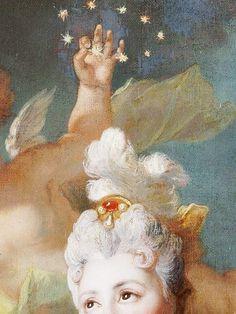 ☆ nicolas de largillierre I7I2 portrait de la comédienne marie-anne de châteauneuf (paris I656 † I746) art peinture portraitiste français classic, thème des étoiles (detail painting, stars cosmos theme)
