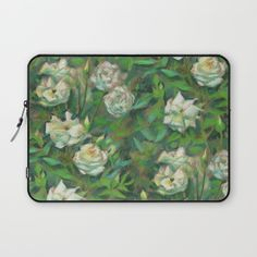"""White roses, green leaves"",  Laptop Sleeve by Clipso-Callipso 